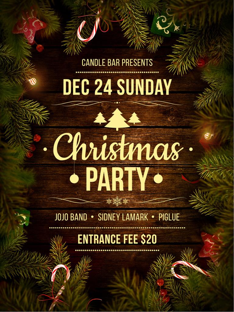 Christmas Party invitation with Garland and Tree frame — ein Design erstellen