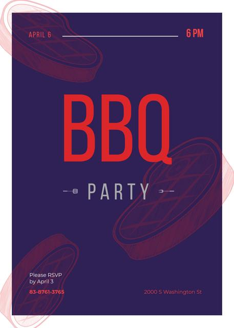 BBQ Party Announcement Raw Meat Steaks Invitation – шаблон для дизайну