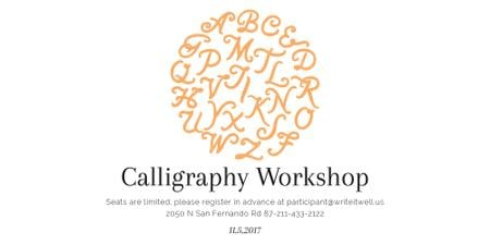 Modèle de visuel Calligraphy Workshop Announcement Letters on White - Image