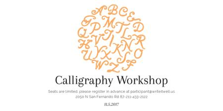 Plantilla de diseño de Calligraphy Workshop Announcement Letters on White Image