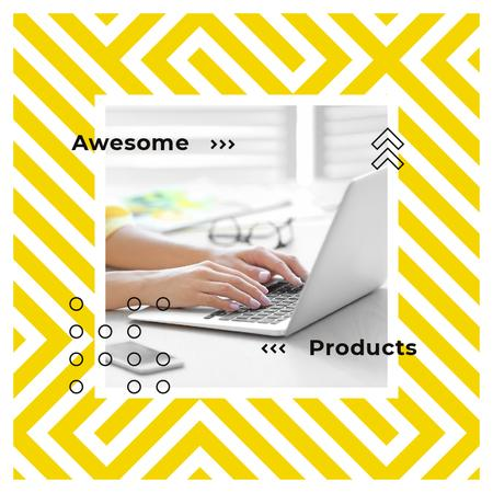 Ontwerpsjabloon van Instagram AD van Woman typing on laptop in yellow