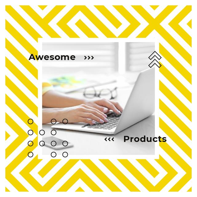 Woman typing on laptop in yellow Instagram AD Modelo de Design
