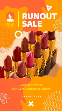 Designvorlage Self-Care Awareness Month Cosmetics Sale Red Lipstick für Instagram Story