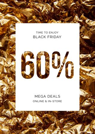 Template di design Black Friday deal on golden foil Poster