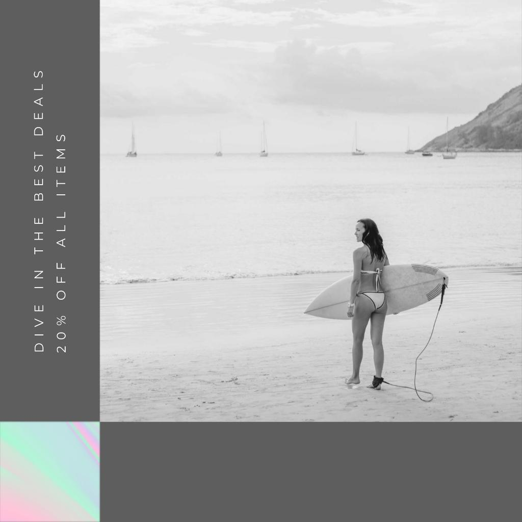 Shop Sale announcement Woman with Surfboard — Створити дизайн