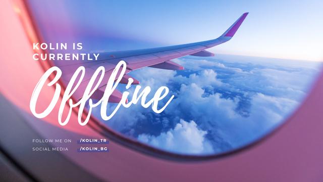 Streaming Blog announcement with Plane in sky Twitch Offline Banner Tasarım Şablonu