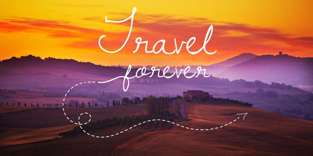 Travelling Inspiration Scenic Sunset Landscape Image Design Template