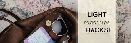 Plantilla de diseño de Travel Tips Vintage Map and Bag Twitter