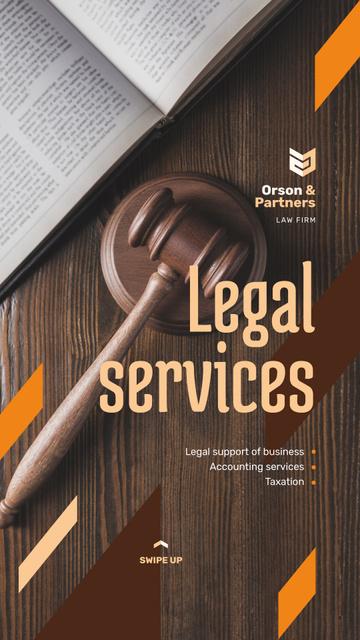 Legal Services Ad Wooden Gavel Instagram Story – шаблон для дизайна