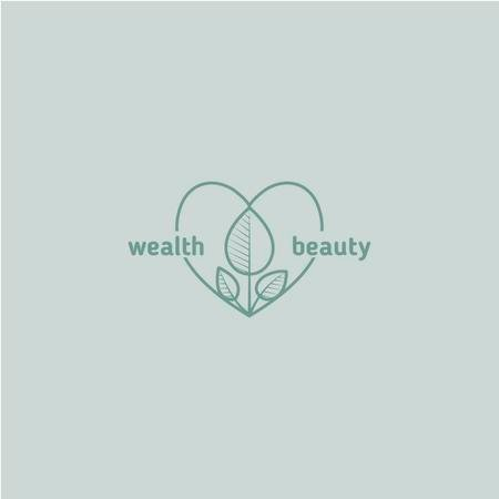 Skincare Ad with Leaves and Heart in Blue Logo Design Template
