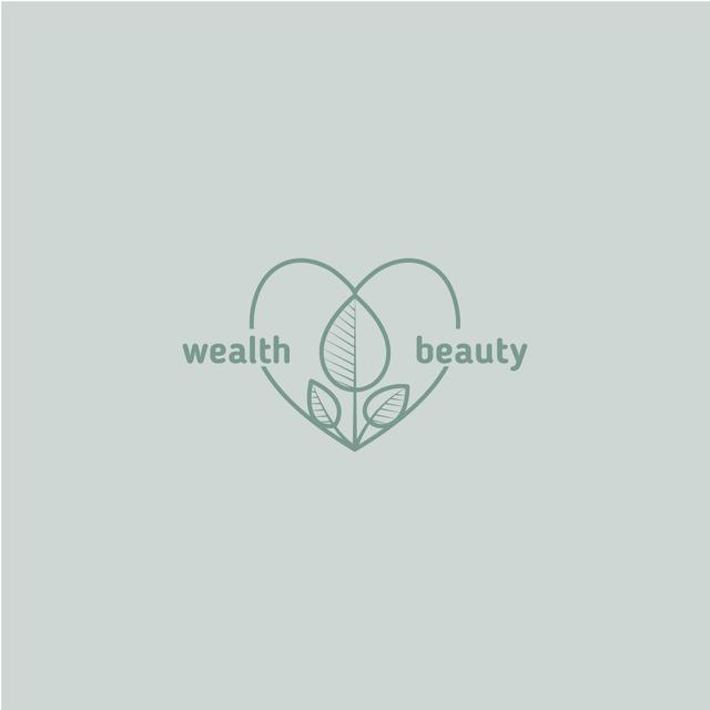 Skincare Ad with Leaves and Heart in Blue Logo Modelo de Design
