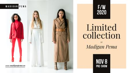Plantilla de diseño de Fashion Collection Ad Women in warm clothes FB event cover