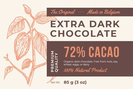 Dark Chocolate packaging with Cocoa beans Label – шаблон для дизайну