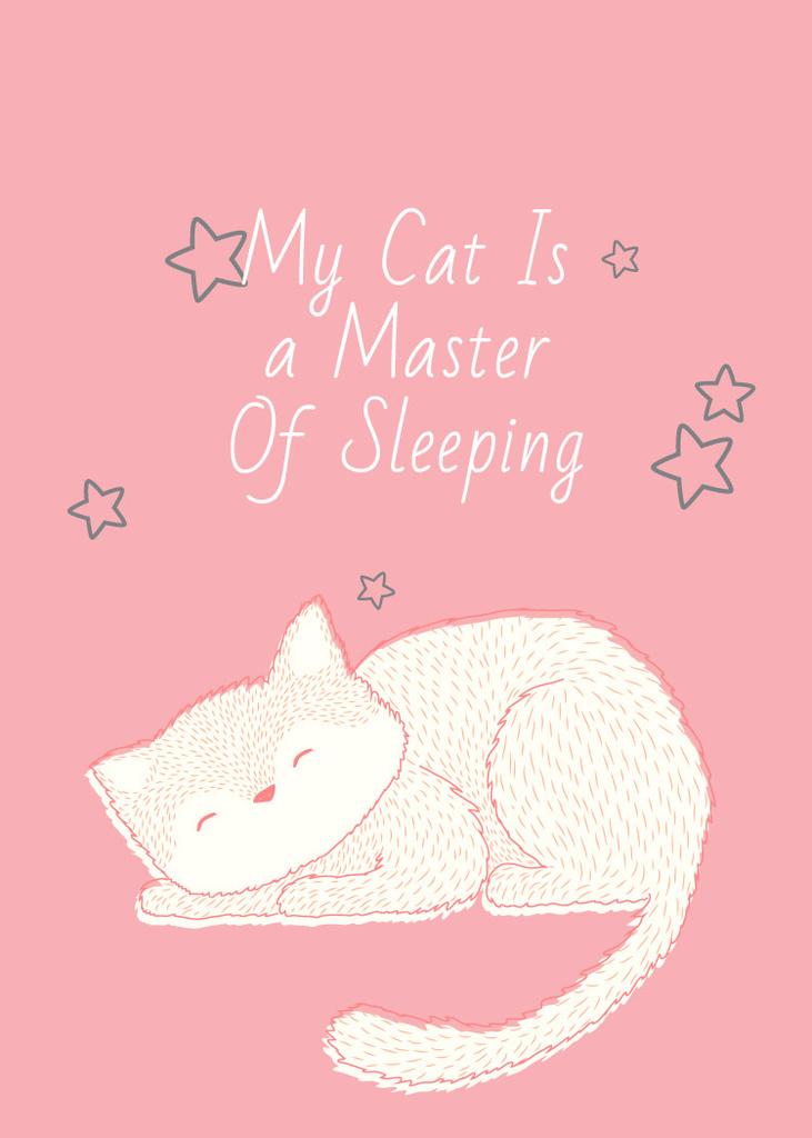 Cute Cat Sleeping in Pink — Modelo de projeto