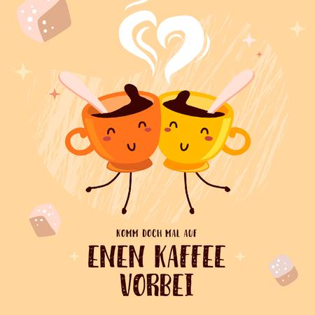 Ontwerpsjabloon van Animated Post van Coffee Shop Promotion Funny Cups of Coffee