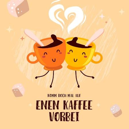 Template di design Coffee Shop Promotion Funny Cups of Coffee Animated Post