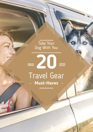 Designvorlage Travelling with Pet Woman and Dog in Car für Poster