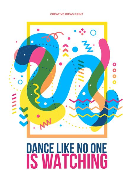 Dance party creative Ad with quote Poster Modelo de Design