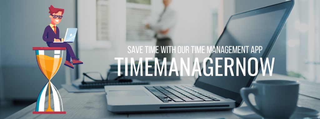 Time Management Concept Businessman on Hourglass | Facebook Video Cover Template — Crea un design