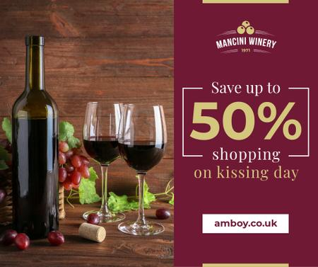 Plantilla de diseño de Red Wine Bottle and Filled Glasses on Kissing Day Facebook