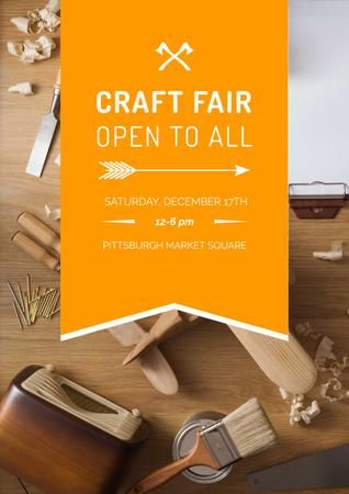 Plantilla de diseño de Craft fair Ad with tools Poster