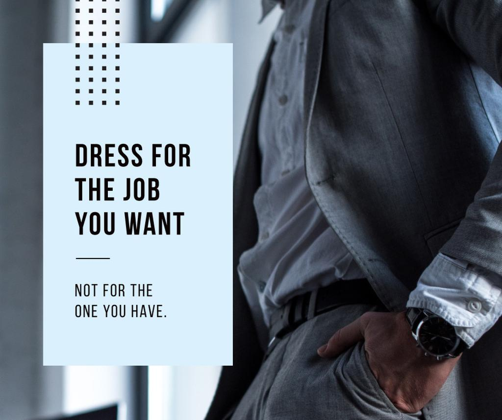 Fashion Quote Businessman wearing Suit in Grey — Create a Design