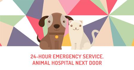 Plantilla de diseño de Animal hospital services Ad with Cute Pets Facebook AD
