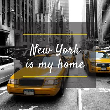 New York poster with cabs