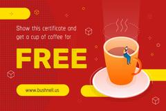 Discount Offer with Man on the Giant Coffee Cup