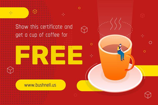 Template di design Discount Offer with Man on the Giant Coffee Cup Gift Certificate