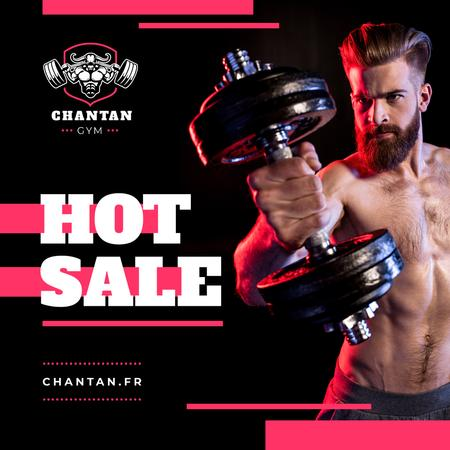 Plantilla de diseño de Gym Promotion Man Lifting Dumbbell Instagram