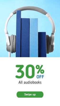 Audio books Offer with Headphones Instagram Story Modelo de Design