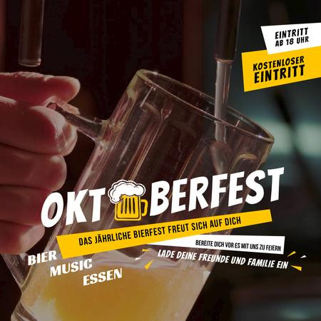 Oktoberfest Offer Pouring Beer in Glass Mug Animated Postデザインテンプレート