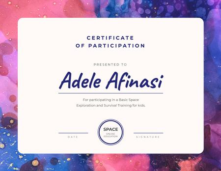 Education online program Participation gratitude Certificate Modelo de Design
