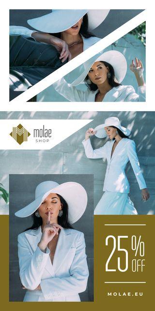 Fashion Sale Woman in White Clothes Graphic Modelo de Design