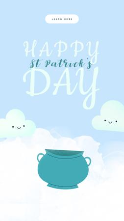 Ontwerpsjabloon van Instagram Video Story van Saint Patrick's Day Clouds with Rainbow
