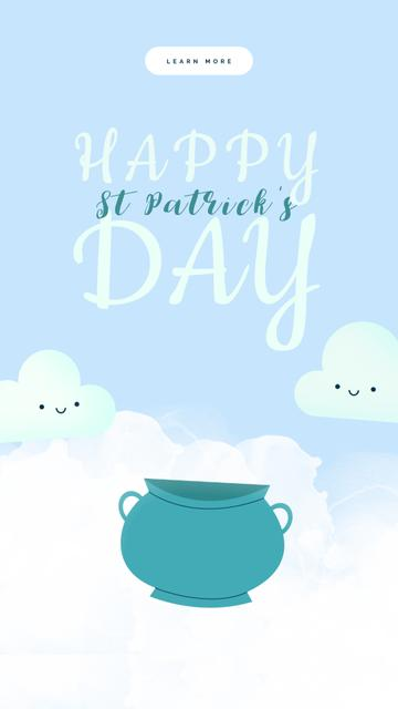 Saint Patrick's Day Clouds with Rainbow Instagram Video Story Design Template