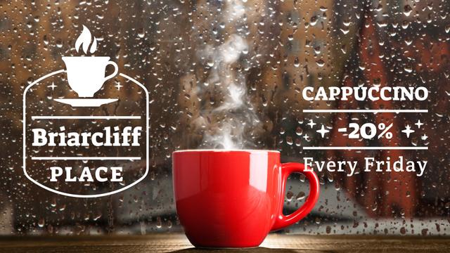 Ontwerpsjabloon van Full HD video van Cup with steaming drink on windowsill