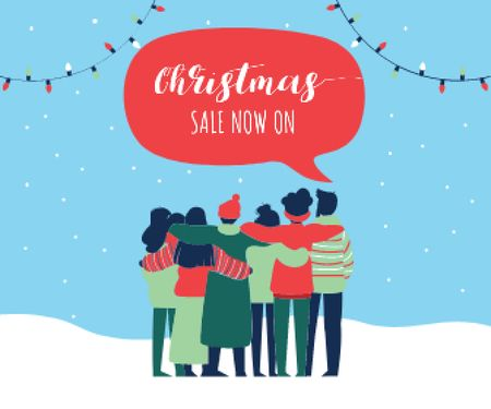 Plantilla de diseño de People celebrating Christmas Large Rectangle