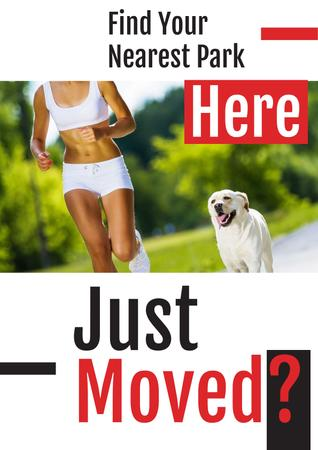 Designvorlage Woman jogging with dog in Park für Poster