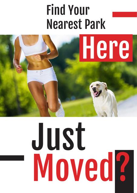Plantilla de diseño de Woman jogging with dog in Park Poster