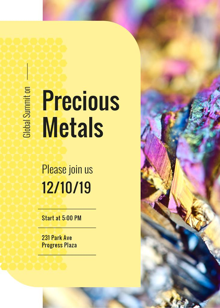 Designvorlage Precious Metals shiny Stone surface für Invitation