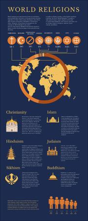 Map Infographics about World Religions Infographicデザインテンプレート