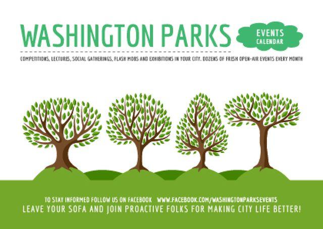 Ontwerpsjabloon van Postcard van Green Trees in Row