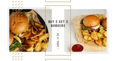 Ontwerpsjabloon van Facebook AD van Burgers served with potato