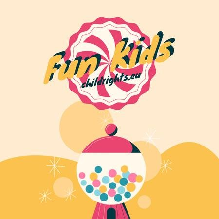 Plantilla de diseño de Happy kid with bubblegum on Children's Day Animated Post