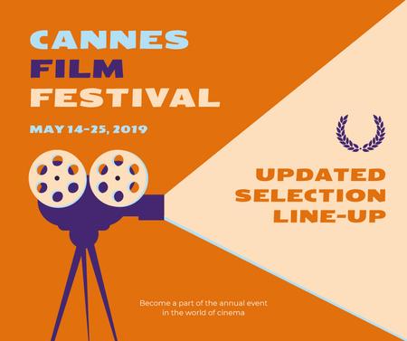 Ontwerpsjabloon van Facebook van Cannes Film Festival vintage projector