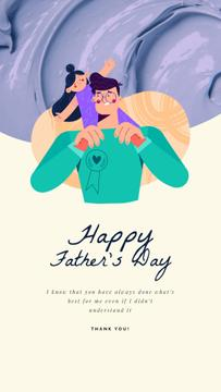 Father's Day Greeting Father Playing with Daughter | Vertical Video Template