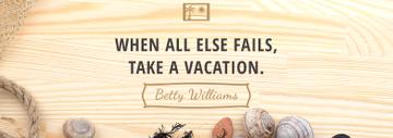 Vacation Inspiration Shells on Wooden Board | Tumblr Banner Template