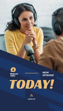 Host of the program speaking with listener